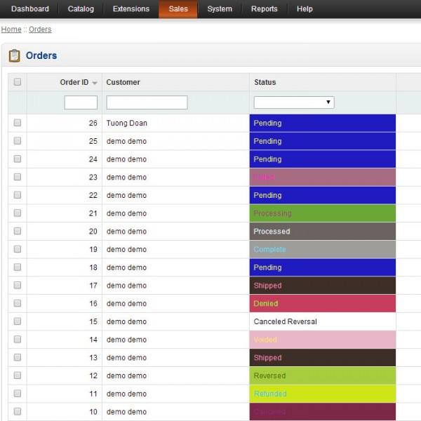 Order Status Color