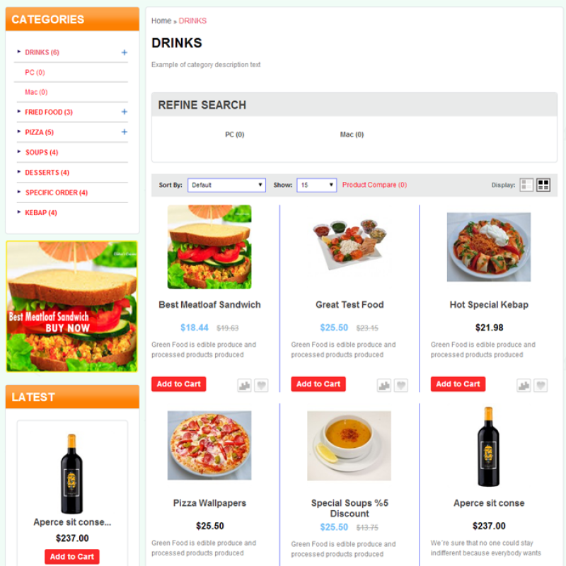 Food store template for opencart for Opencart bookstore template