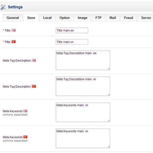 Meta Tags Homepage Multi Languages